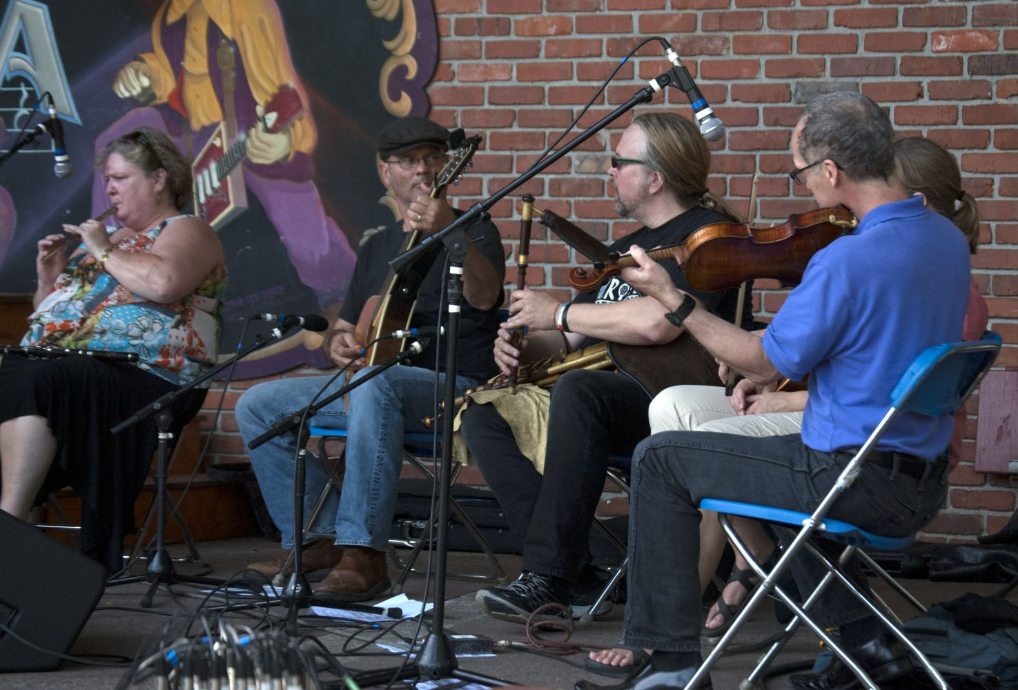 A local band specializing in Irish music performs as the Gainesville community celebrates culture and diversity at the Viva Europe Festival Sunday.