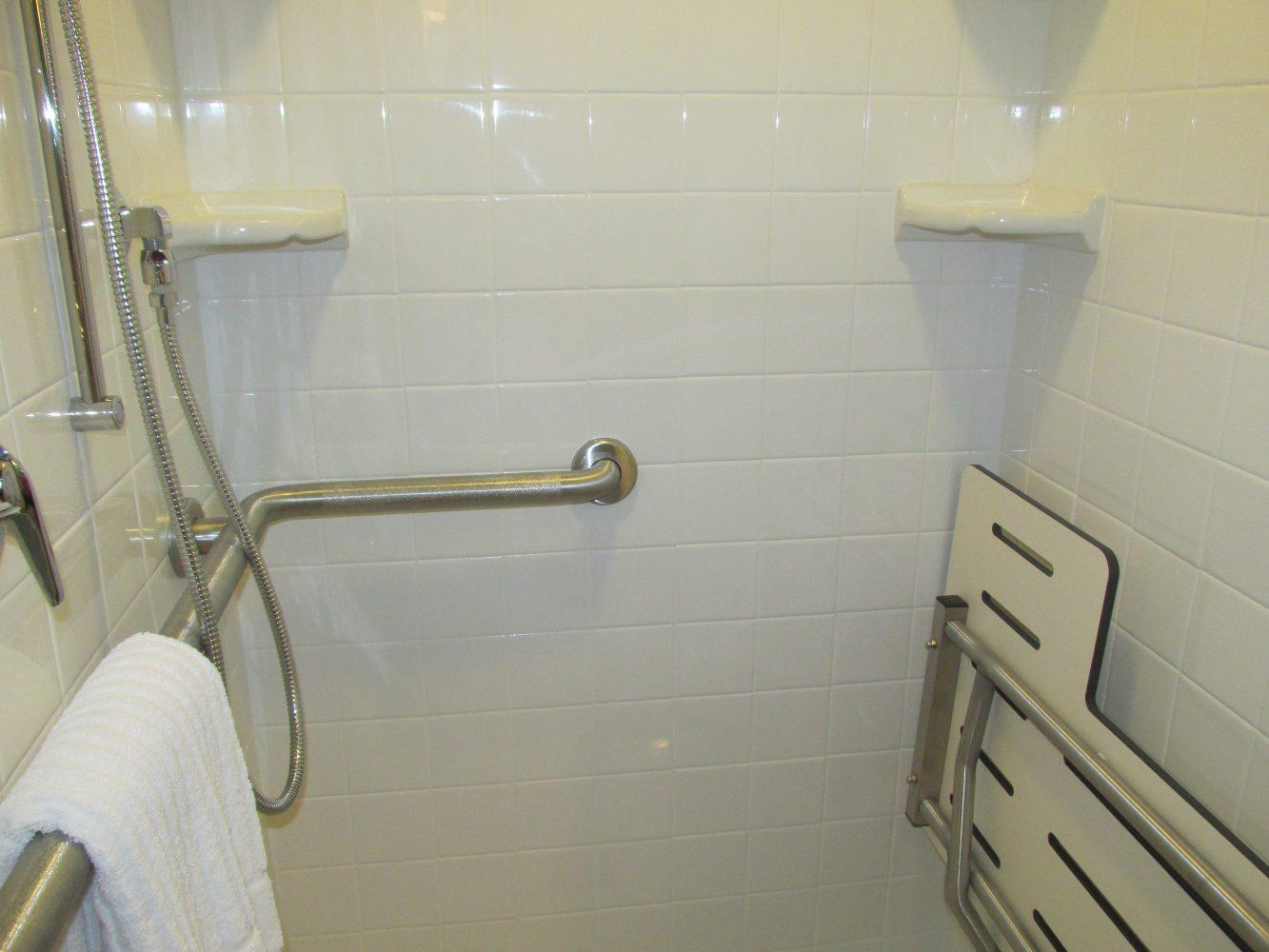Each room has a private, handicap-accessible bathroom.