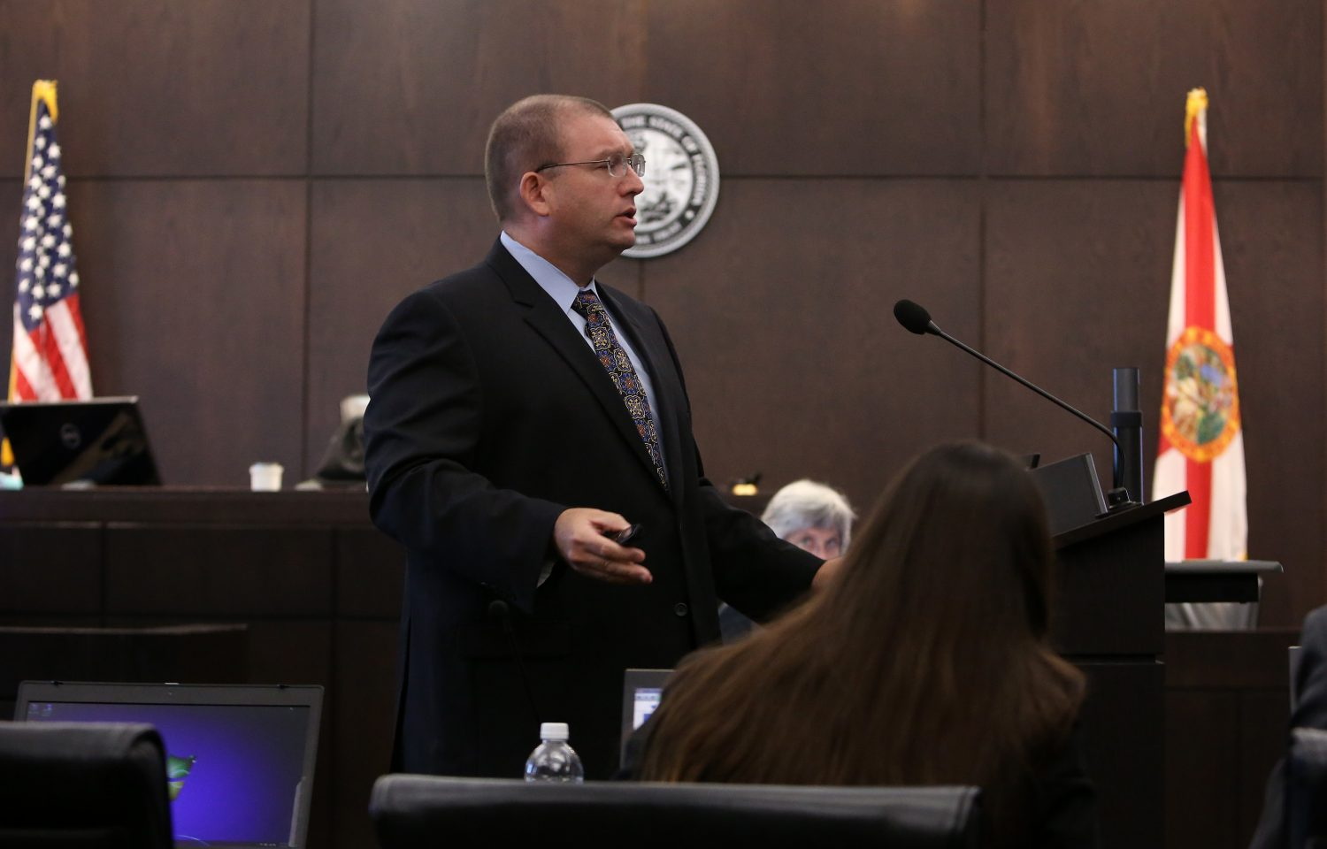 Prosecutor Brian Kramer gives opening statements in the case against Pedro Bravo in courtroom 1B of the Alachua County Criminal Justice Center Tuesday, August 5, 2014.  (Doug Finger/The Gainesville Sun/Pool)