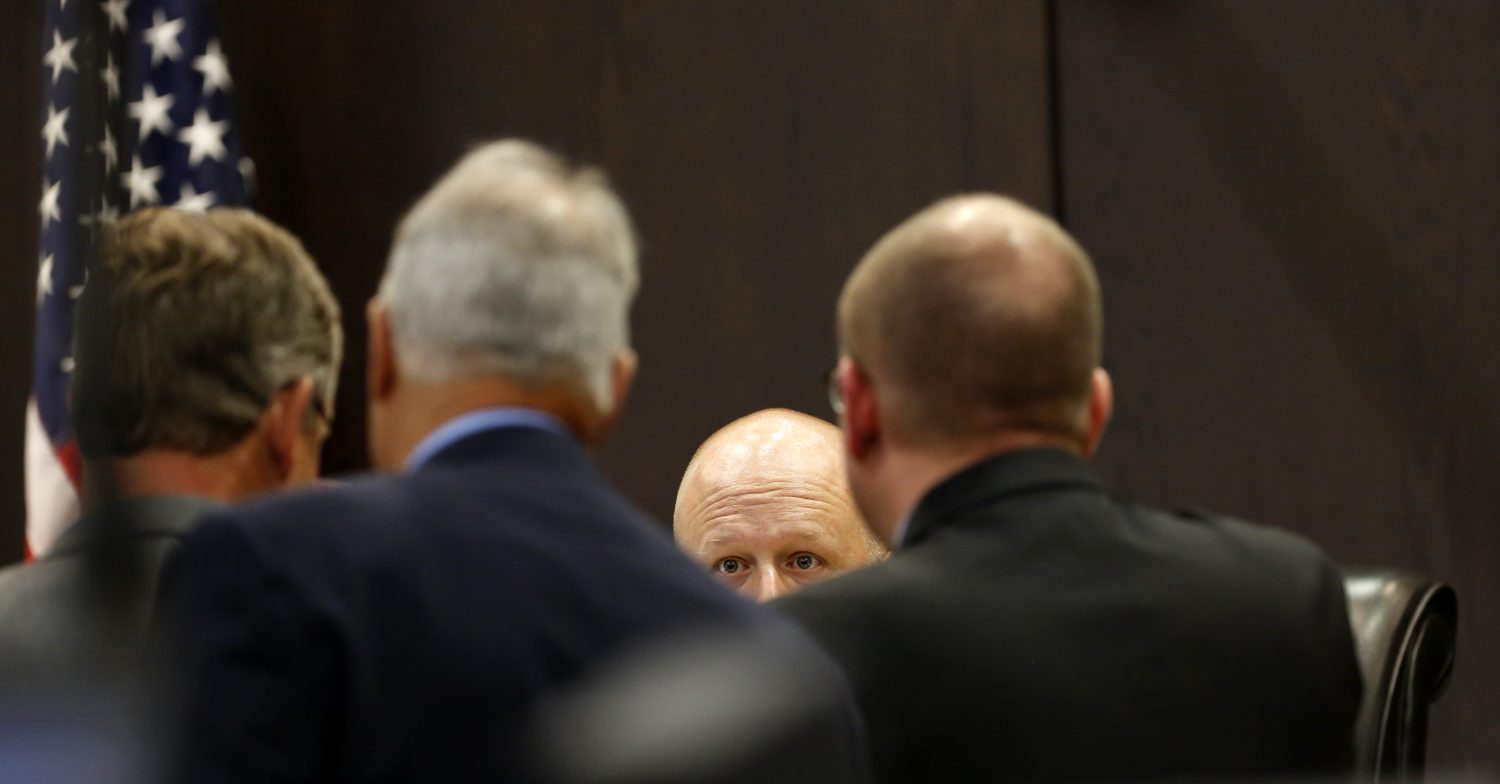 Circuit Court Judge James Colaw speaks to the defense and the prosecution during the murder trial of Pedro Bravo in courtroom 1B of the Alachua County Criminal Justice Center Tuesday, August 5, 2014.  (Doug Finger/The Gainesville Sun/Pool)