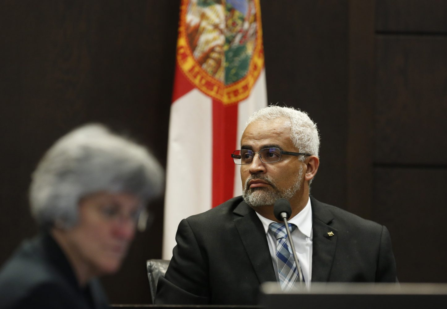 Carlos Aguilar, the father of slain University of Florida student Christian Aguilar, gives testimony in the murder trial of Pedro Bravo in courtroom 1B of the Alachua County Criminal Justice Center Tuesday, August 5, 2014.  (Doug Finger/The Gainesville Sun/Pool)