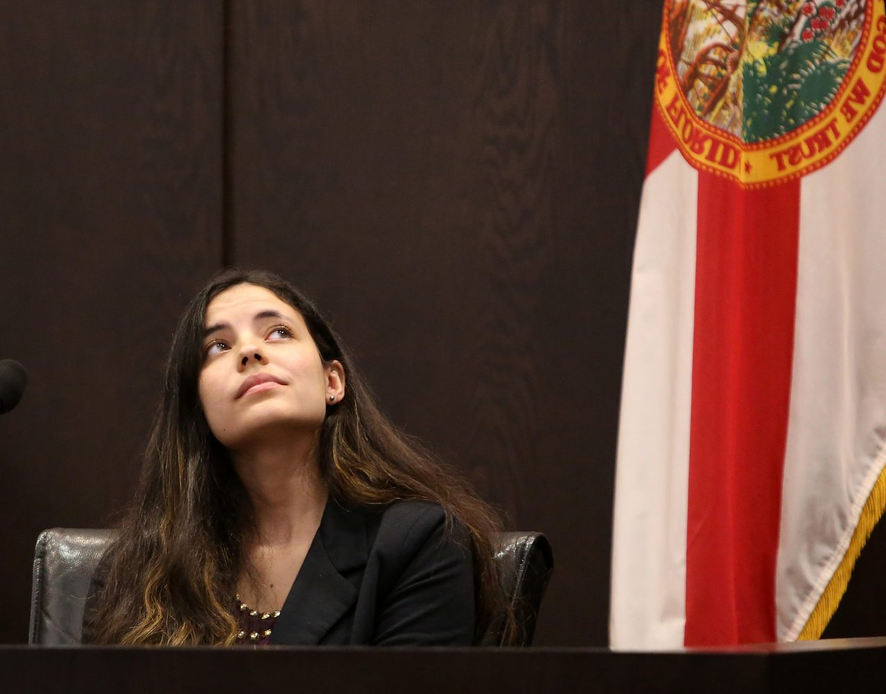 Erika Friman, the girlfriend of victim Christian Aguilar, looks up during a break in her testimony during the murder trial of Pedro Bravo in courtroom 1B of the Alachua County Criminal Justice Center Wednesday, August 6, 2014.  (Doug Finger/The Gainesville Sun/Pool)