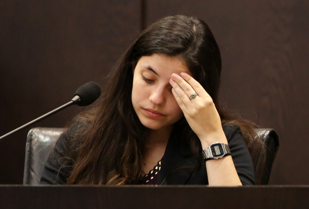Erika Freeman, the girlfriend of victim Christian Aguilar, continues her testimony from yesterday during the murder trial of Pedro Bravo in courtroom 1B of the Alachua County Criminal Justice Center Wednesday, August 6, 2014.  (Doug Finger/The Gainesville Sun/Pool)