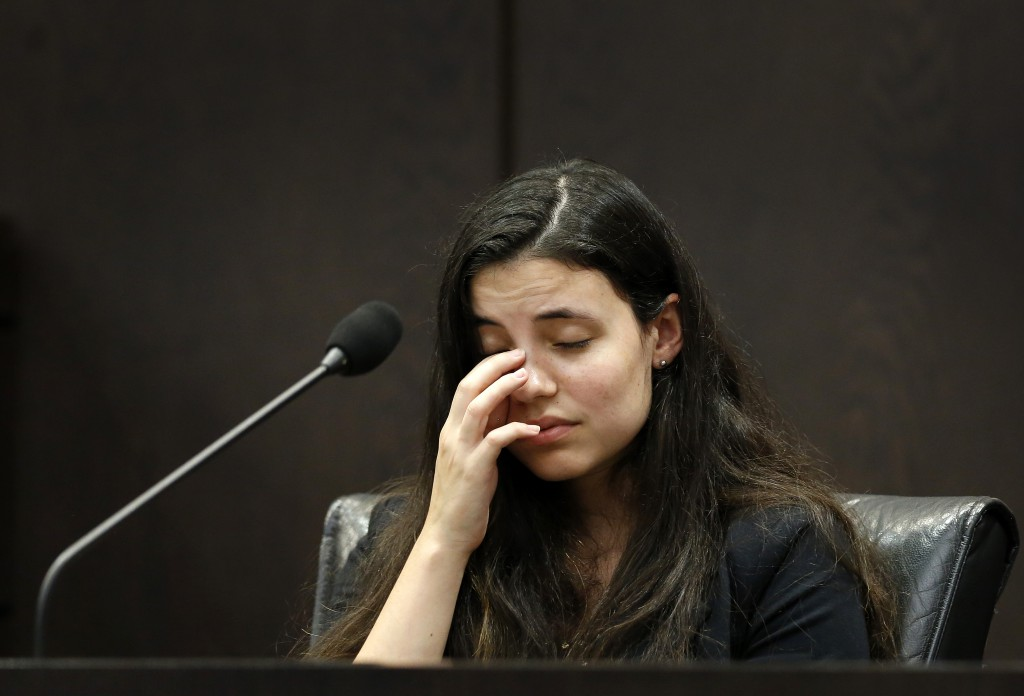Erika Friman, the girlfriend of victim Christian Aguilar, continues her testimony from yesterday during the murder trial of Pedro Bravo in courtroom 1B of the Alachua County Criminal Justice Center Wednesday, August 6, 2014. (Doug Finger/The Gainesville Sun/Pool)