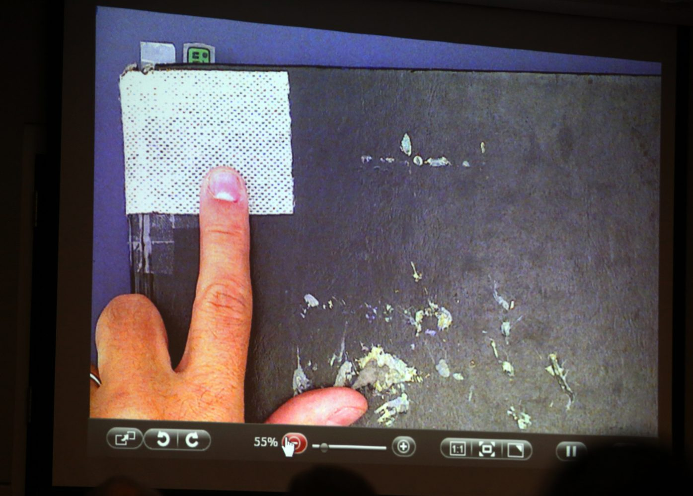A piece of gauze located in a corner of Pedro Bravo's journal is pointed out to the jury during Bravo's murder trial in courtroom 1B of the Alachua County Criminal Justice Center Friday, August 8, 2014.  Bravo is accused of killing University of Florida student Christian Aguilar.  (Doug Finger/The Gainesville Sun) in a corner of Pedro Bravo's journal is pointed out to the jury during Bravo's murder trial in courtroom 1B of the Alachua County Criminal Justice Center Friday, August 8, 2014.  Bravo is accused of killing University of Florida student Christian Aguilar.  (Doug Finger/The Gainesville Sun/Pool)