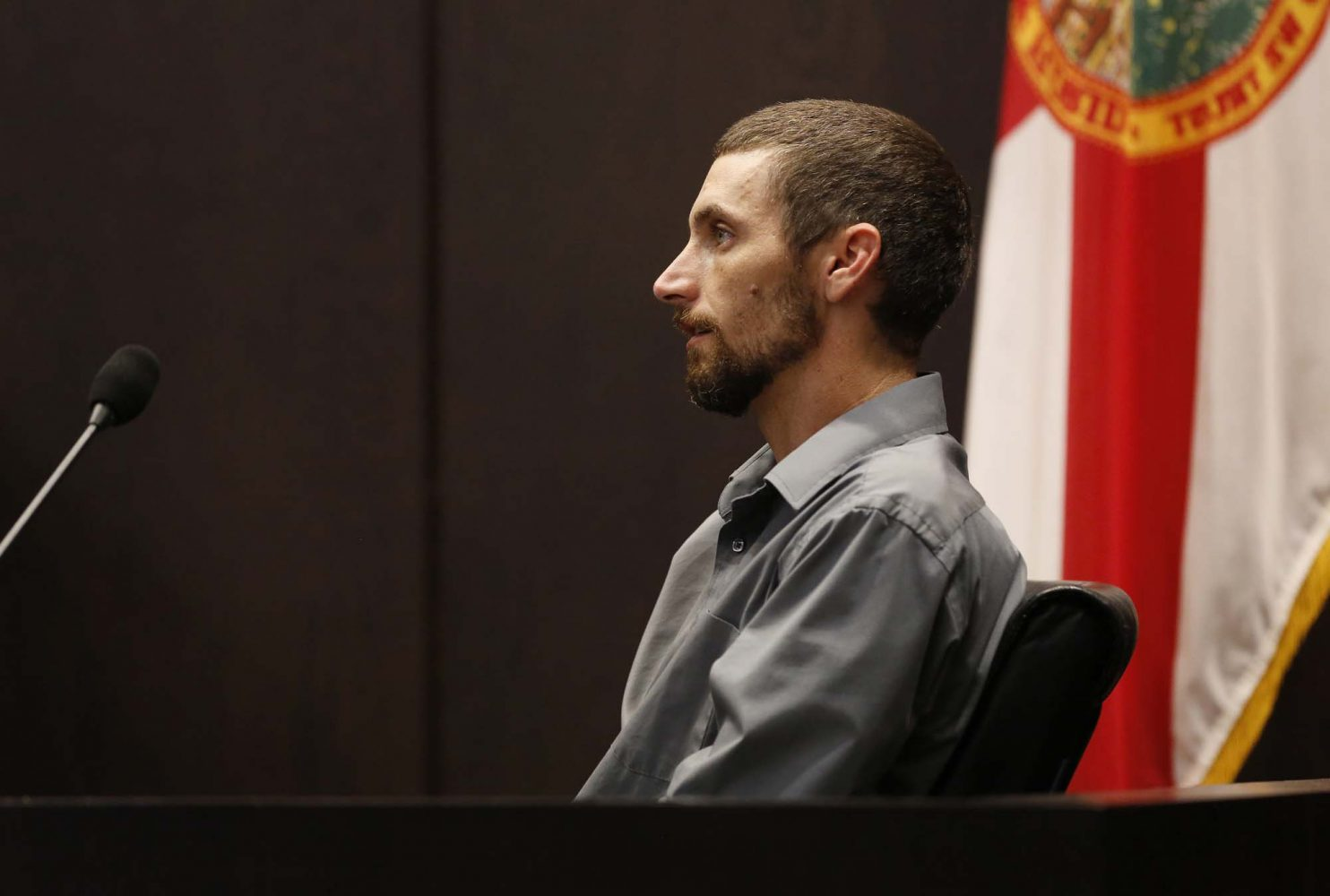 Levy County resident Jesse Everidge describes how he and his brother-in-law James Rains found the remains of Christian Aguilar while the two searched for jasmine vines in the Gulf Hammock Hunt Club during Bravo's murder trial in courtroom 1B of the Alachua County Criminal Justice Center Friday, August 8, 2014.  Bravo is accused of killing University of Florida student Christian Aguilar.  (Doug Finger/The Gainesville Sun)