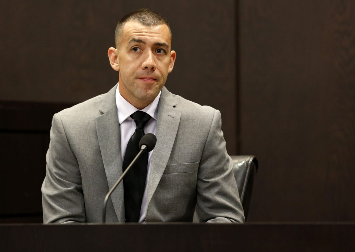 Christopher King, a detective with Gainesville Police Department's sex crimes and child abuse unit, testifies during Pedro Bravo's murder trial in courtroom 1B of the Alachua County Criminal Justice Center Friday, August 8, 2014.  Bravo is accused of killing University of Florida student Christian Aguilar.  (Doug Finger/The Gainesville Sun/Pool)