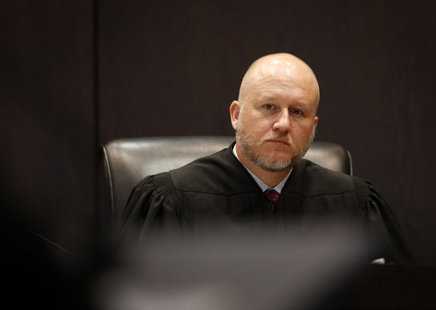 Circuit Court Judge James Colaw presides over the Pedro Bravo murder trial in courtroom 1B of the Alachua County Criminal Justice Center Friday, August 8, 2014.  Bravo is accused of killing University of Florida student Christian Aguilar.  (Doug Finger/The Gainesville Sun/Pool)