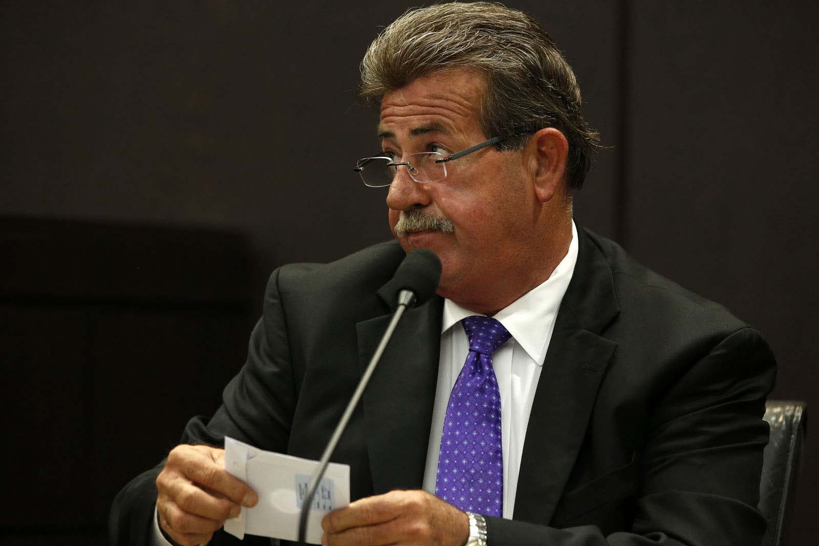 Gainesville Police Det. Randy Roberts testifies during Pedro Bravo's murder trial in courtroom 1B of the Alachua County Criminal Justice Center Monday, August 11, 2014.  Bravo is accused of killing University of Florida student Christian Aguilar.  (Doug Finger/The Gainesville Sun/Pool)