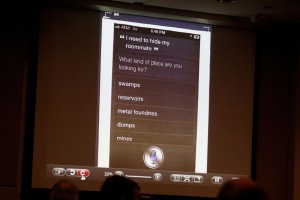 A screen shot of a Siri search from a Facebook cache viewed on Pedro Bravo's cell phone is shown to the jury during Bravo's murder trial in courtroom 1B of the Alachua County Criminal Justice Center Tuesday, August 12, 2014. Bravo is accused of killing University of Florida student Christian Aguilar.
