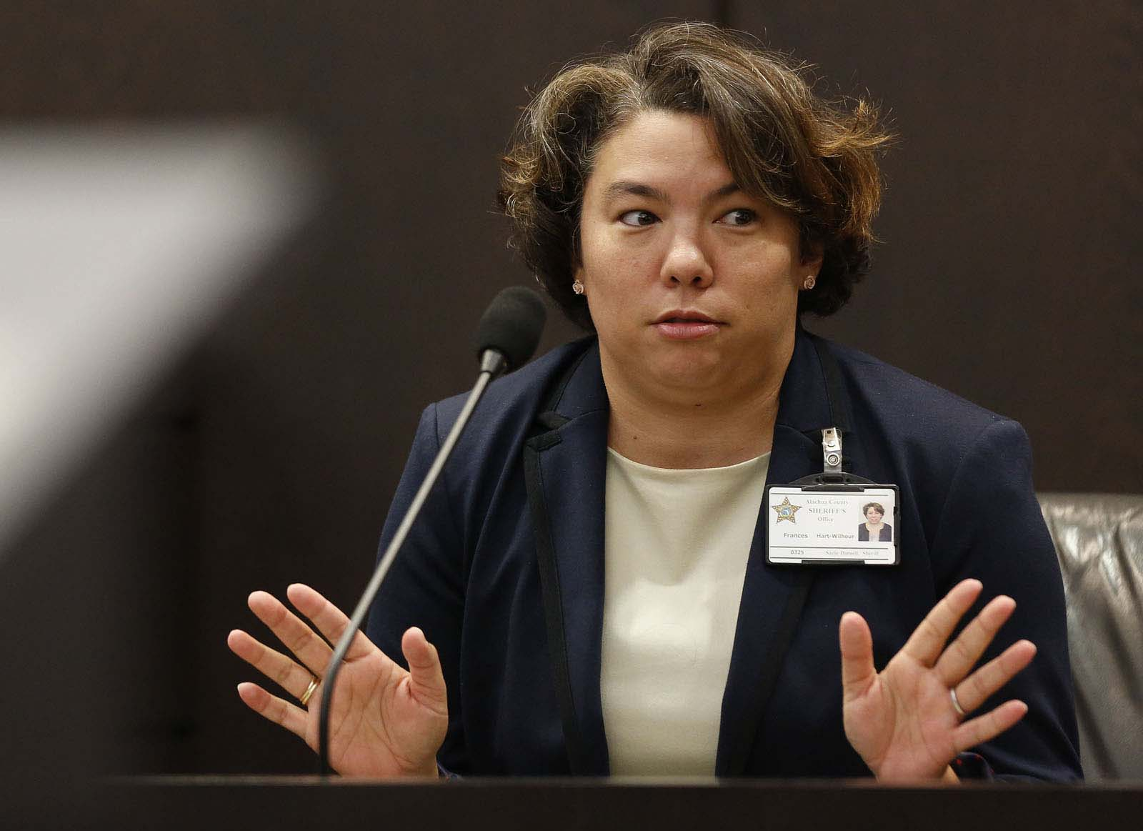 Frances Hart-Wilhour, with the Alachua County Department of the Jail, testifies during Pedro Bravo's murder trial in courtroom 1B of the Alachua County Criminal Justice Center Wednesday, August 13, 2014.  Bravo is accused of killing University of Florida student Christian Aguilar.  (Doug Finger/The Gainesville Sun/Pool)