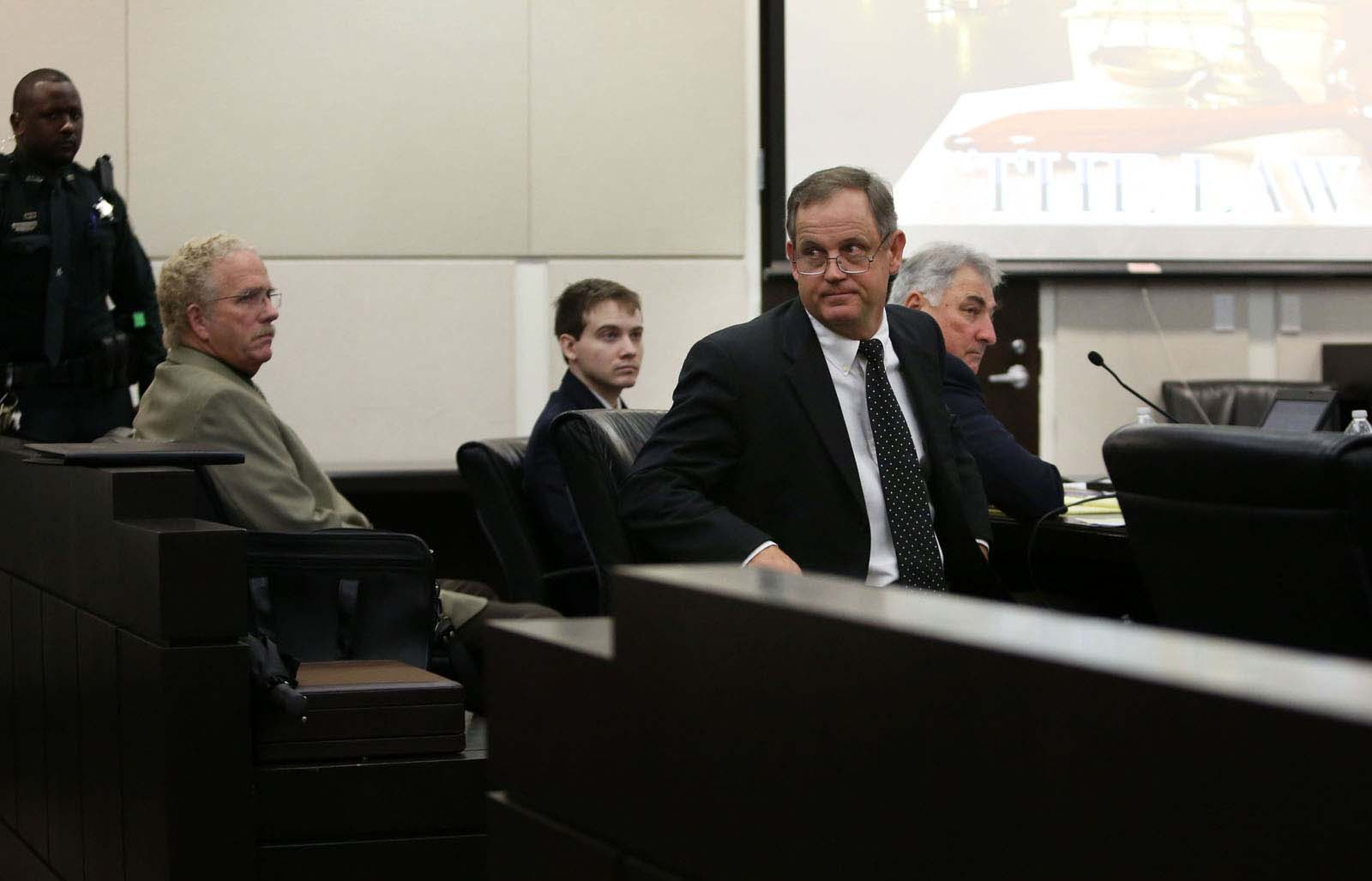 Lead defense attorney Michael Ruppert looks to the gallery following his request for a mistrial during Pedro Bravo's murder trial in courtroom 1B of the Alachua County Criminal Justice Center Friday, August 15, 2014.  Bravo is accused of killing University of Florida student Christian Aguilar.  (Doug Finger/The Gainesville Sun/Pool)