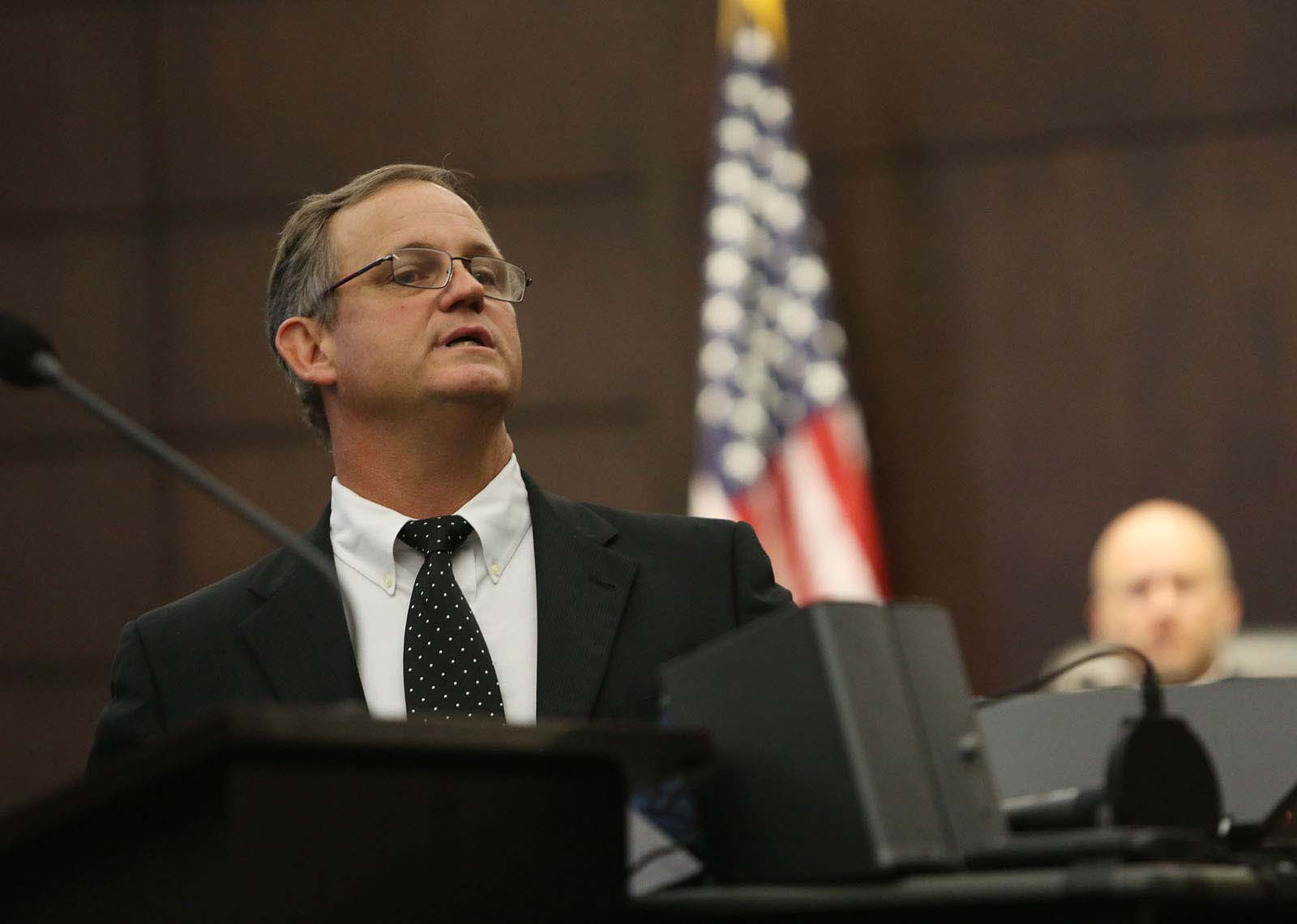 Lead defense attorney Michael Ruppert gives his closing statements during Pedro Bravo's murder trial in courtroom 1B of the Alachua County Criminal Justice Center Friday, August 15, 2014.  Bravo is accused of killing University of Florida student Christian Aguilar.  (Doug Finger/The Gainesville Sun/Pool)