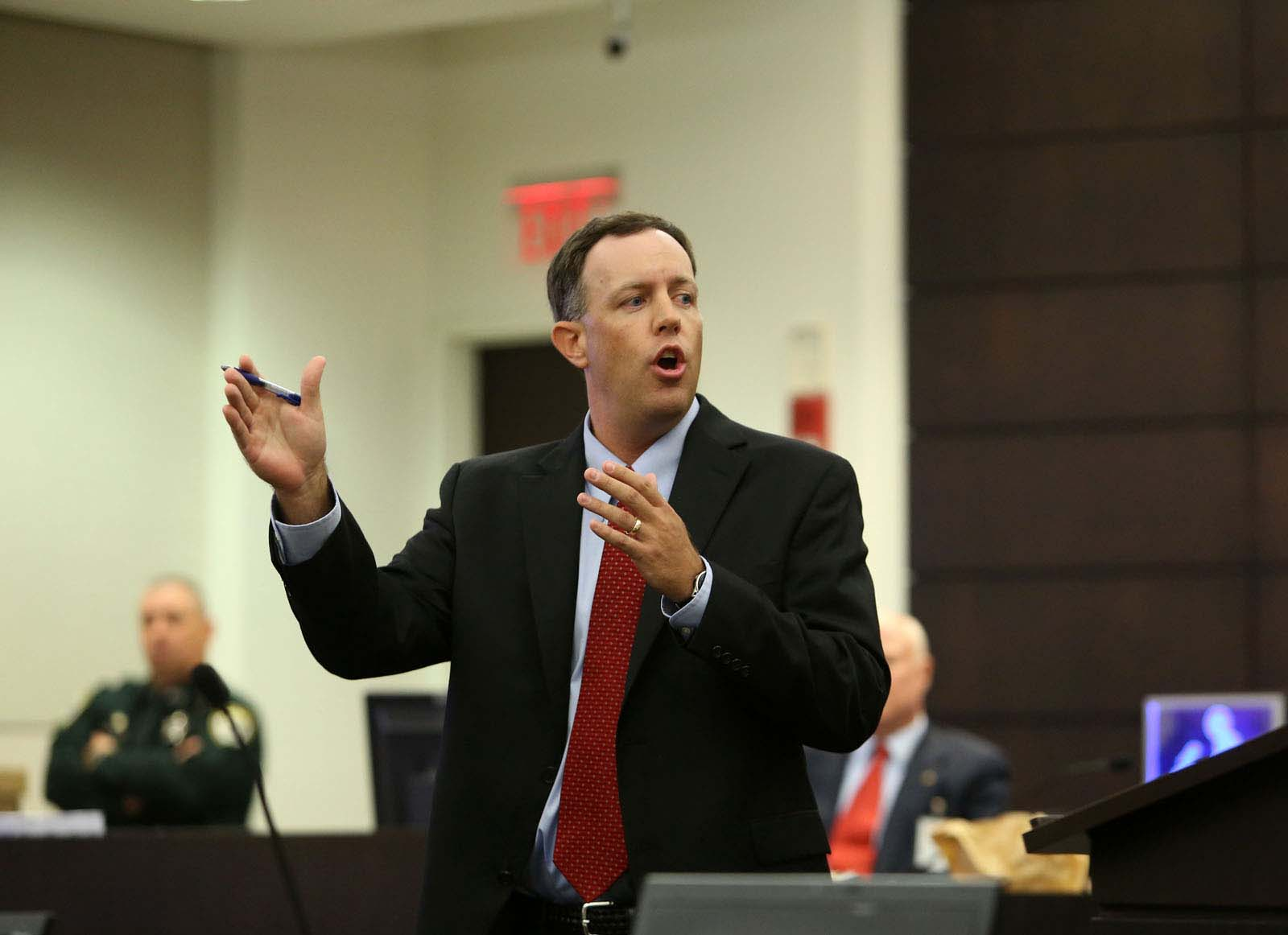 Assistant State Attorney Bill Ezzell gives his rebuttal during Pedro Bravo's murder trial in courtroom 1B of the Alachua County Criminal Justice Center Friday, August 15, 2014.  Bravo is accused of killing University of Florida student Christian Aguilar.  (Doug Finger/The Gainesville Sun/Pool)