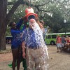 University of Florida President Bernie Machen is doused with ice water for the ALS Ice Bucket Challenge. Machen was nominated to participate in the nationwide campaign by Kéran Billaud, a Ph.D. student at UF.