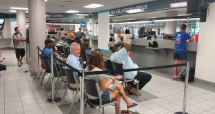 Clients wait in line at the downtown Gainesville branch of the Alachua County Tax Collector's Office. Local tax collector's offices experienced higher traffic after the newly effective drop in vehicle tag fees.