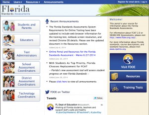 The Florida Standards Assessments website, which the launched in June 2014, provides information about Florida's newest assessment tools for grades K-12. The Department of Education is currently collecting public input about test item specifications -- documents that define the content and format by grade-level and subject for test writers and reviewers.