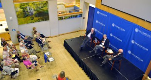 "Former governor Bob Graham (left), Jon Mills (center) and David Hart (right) from the Florida Chamber of Commerce discuss how Amendment 1 would affect Florida in front of an audience at Pugh Hall Sept. 4. Graham, a supporter of the amendment, said Florida should be viewed as a treasure to be protected instead of a ""commodity,"" while Hart said that passing this amendment could cause some serious implications for balancing the state budget."