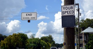 A monitor designed to alert motorists of their exact speed is turned off in Waldo, Florida on September 3. Waldo Police Department is under investigation by the Florida Department of Law Enforcement after the former Police Chief was accused of establishing illegal ticket quotas for officers.