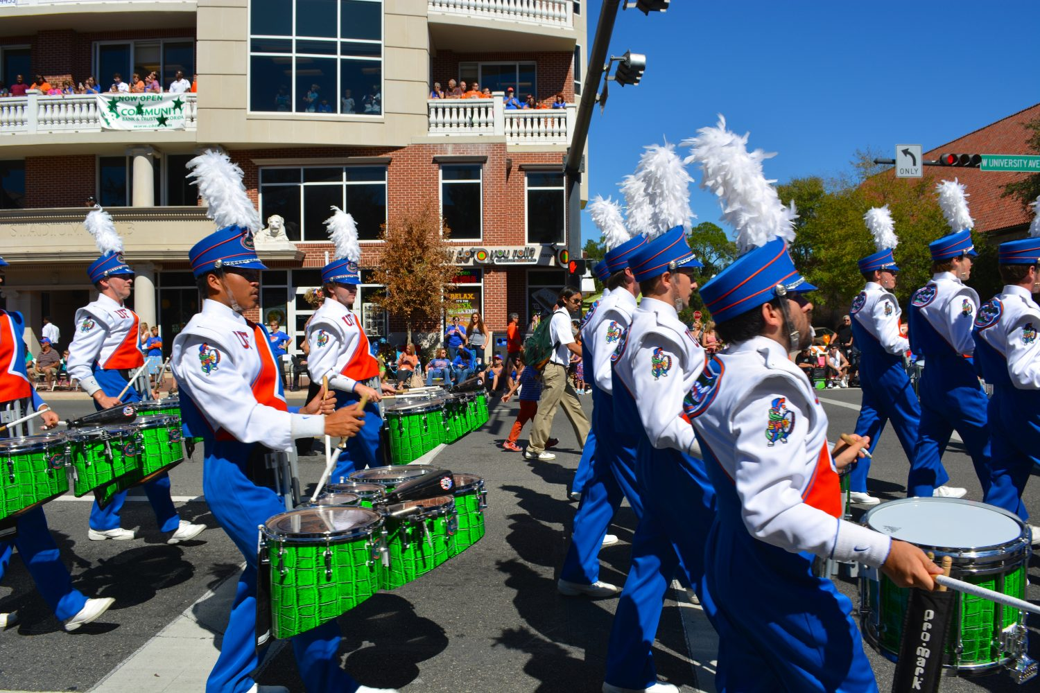 Local bands, floats and parade participants take part in the 2014 University of Florida homecoming parade.