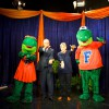 UF presidential candidate David McLaughlin and his wife, Ruth Ann McLaughlin, show their school spirit with Albert and Alberta.
