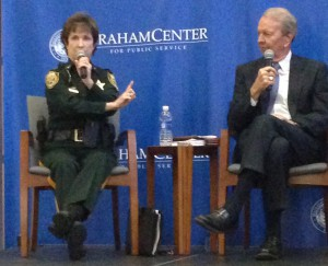 Alachua County Sheriff Sadie Darnell and former Florida House Speaker Jon Mills debate each other during a Tuesday night forum about medical marijuana at Pugh Hall on the University of Florida campus. The debate was heated as the two battled on either side of the argument.