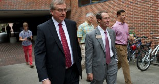 Dr. W. Kent Fuchs, Provost, Cornell University (left) walks with Charles Lane (right), Chief Operating Officer on the campus of the University of Florida on Tuesday, October 14, 2014. All three Presidential Finalists are on UF's campus being interviewed by various groups of faculty, staff, students the public and the board of trustees.