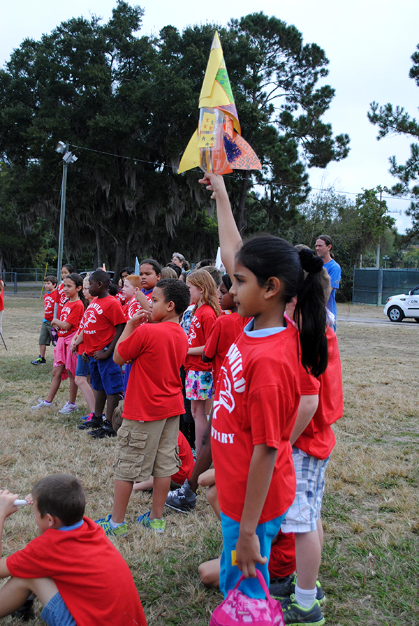 Maseeia, a fourth grade student, participates in a water rocket launch at Flavet Field. Fourth and fifth grade students from Idylwild Elementary School visited the University of Florida on Oct. 30 to learn about engineering and other STEM-related studies.