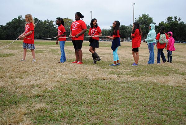 Students from Idylwild Elementary School prepare to launch a water rocket at Flavet Field. Fourth and fifth grade students from Idylwild Elementary School visited the University of Florida on Oct. 30 to learn about engineering and other STEM-related studies.