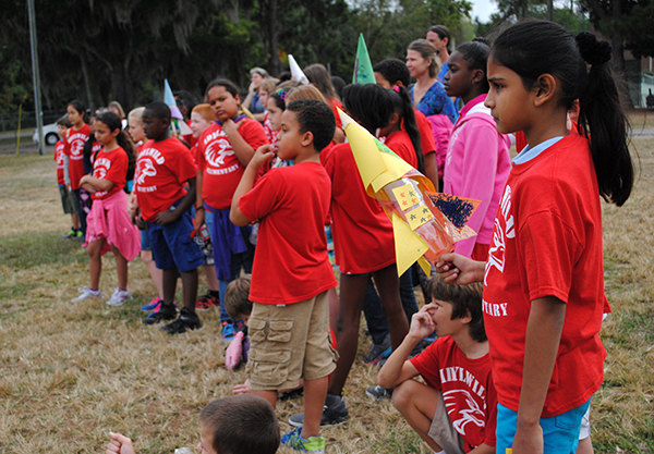 Students from Idylwild Elementary School participate in a rocket launch activity at Flavet Field.  Building water rockets was one of the activities fourth and fifth grade students from Idylwild Elementary School participated in when they visited the University of Florida on Oct. 30.