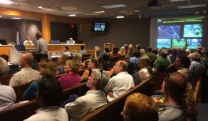 A crowded audience of Island Field residents and trail supporters filled the Jack Durrance Auditorium at the Alachua County Administration building on Tuesday night. The County Commission voted on how to address complaints regarding use of the Barr Hammock trail.