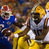 Louisiana State University quarterback Anthony Jennings (10) during the first half of the LSU at Florida game at Ben Hill Griffin Stadium in Gainesville, Florida, Saturday Oct. 11, 2014.