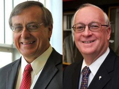 Kent Fuchs, left, and David McLaughlin are the two finalists for the UF president position.