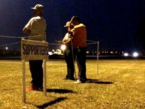 Friends of the victims wait outside of the Florida State Prison for news on the execution of Chadwick Banks.