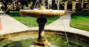 The fountain in the garden of the Historic Thomas Center is in need of repair. The Center has applied for a $75,000-grant to make the necessary improvements.