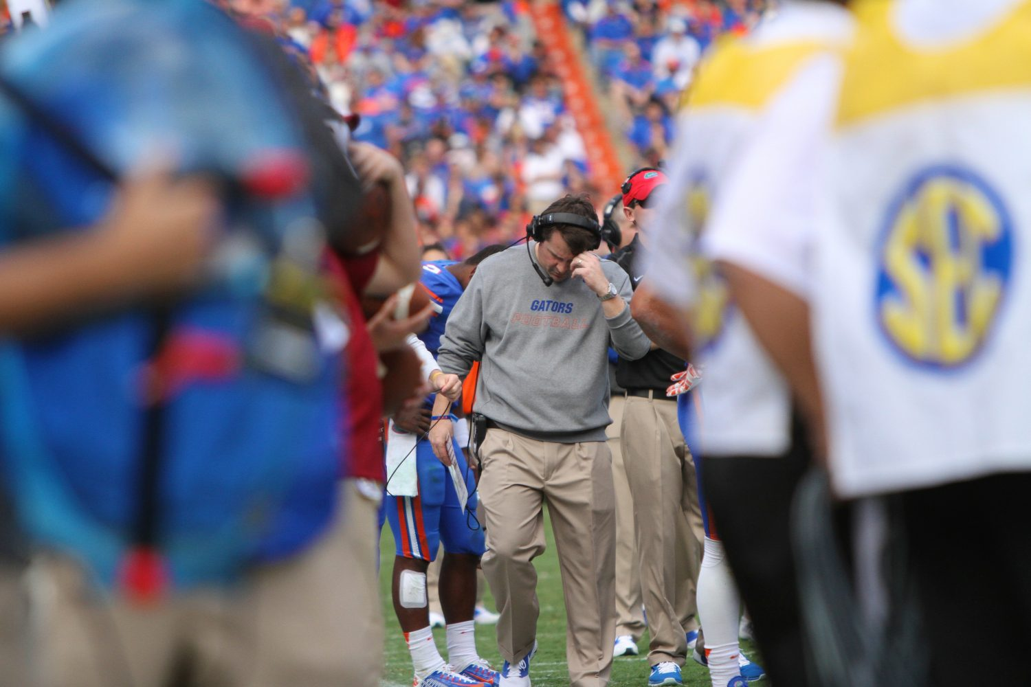 Coach Will Muschamp reacts during the game Saturday against South Carolina.