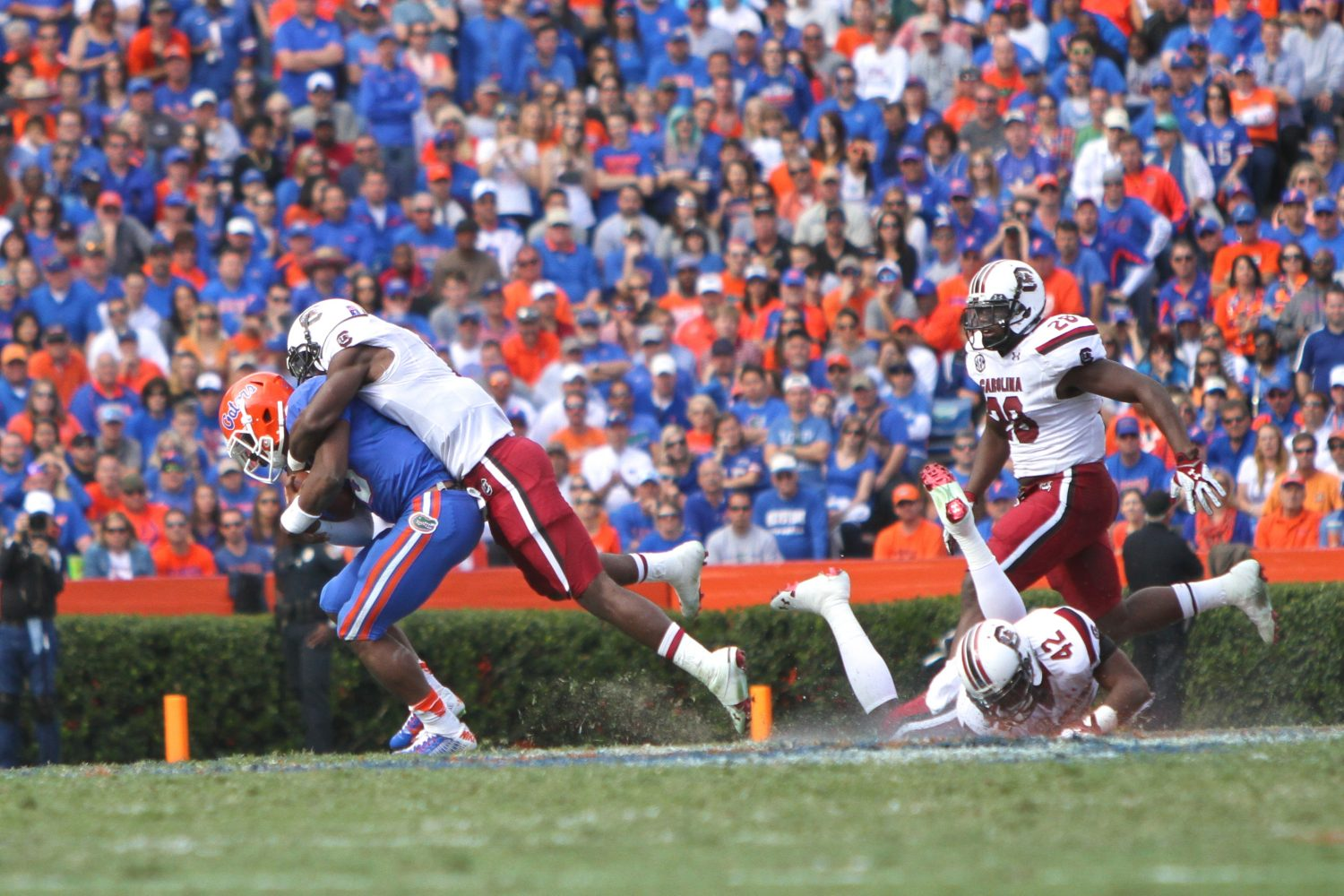 A South Carolina defender brings down Treon Harris for a loss of yards.
