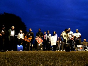 Protestors gather outside of the prison to demonstrate their opposition to the death penalty.