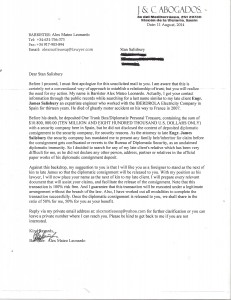 A letter from a scammer posing as a lawyer from a law firm in Spain. Both the Salisbury's and Sicher recognized the scripted con before falling for the trap placed for them.