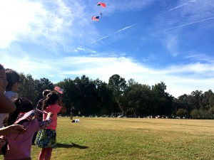Community members watch skydivers jump in celebration of Veterans Day.