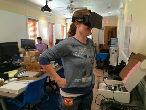Anna Williams plays with the Oculus, a virtual reality headset that can be used for gaming with Paracosm's 3D technology on Friday, Nov. 14, 2014 at their downtown office on SW 4th Ave.