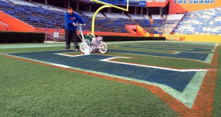 Jason Smith, turf coordinator rolls the first coat of white paint on the Florida logo Wednesday morning.