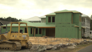 Construction is on-going at one of the Skobel Homes properties in Bryton. Several others are also under construction in the community.