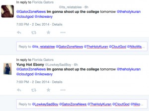This a screenshot of two tweets sent to @GatorZoneNews Tuesday night.