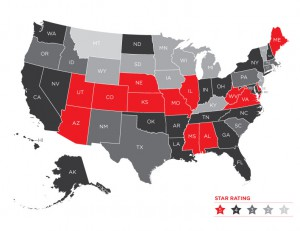 State rankings based on efforts to prevent drunk driving. The ratings are given on a five-star scale.