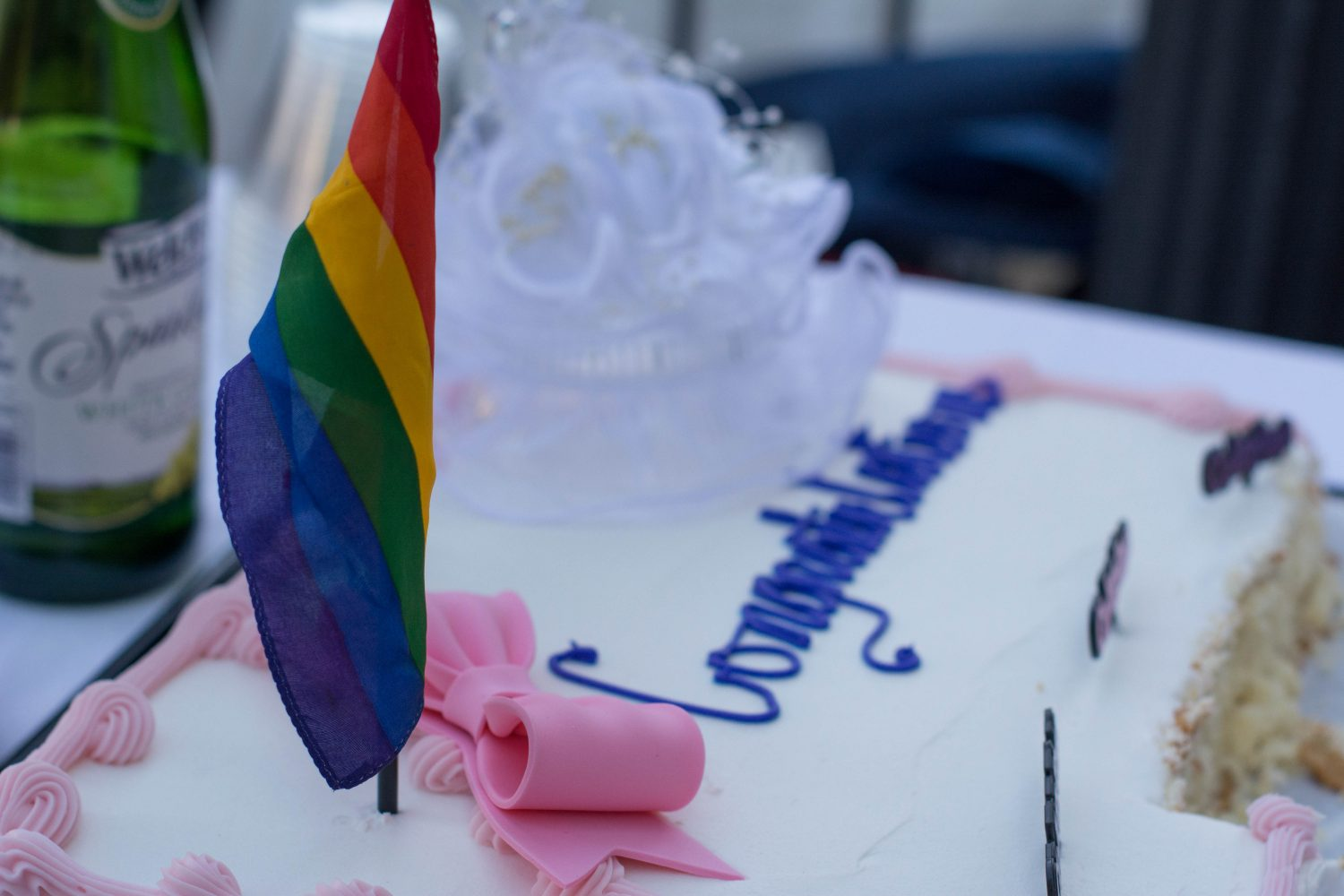 United Church of Gainesville helps same-sex couples celebrate their new marriage licenses by hosting wedding receptions outside the Alachua County Courthouse on E. University Ave. on Tuesday, Jan. 6.