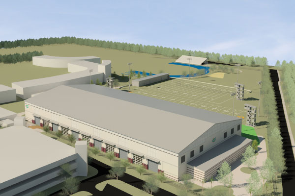 Coming from a different angle, this view shows the facility's expected northeast side.