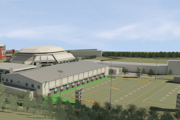 This design shows the planned northwest exterior of UF's football practice facility.