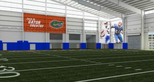 This artist's rendering shows the interior of the University of Florida's planned indoor football practice facility.