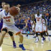 Florida's Jacob Kurtz hustles to save a ball before it goes out of bounds.